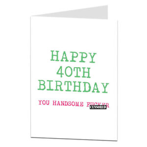 Image Is Loading Funny 40th 40 Today Birthday Card For Husband