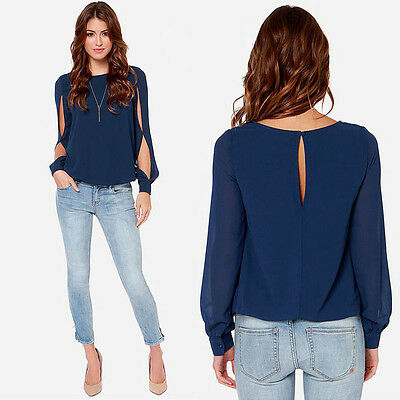 New Fashion Sexy Women's Loose Chiffon Tops Long Sleeve Shirt Casual Blouse