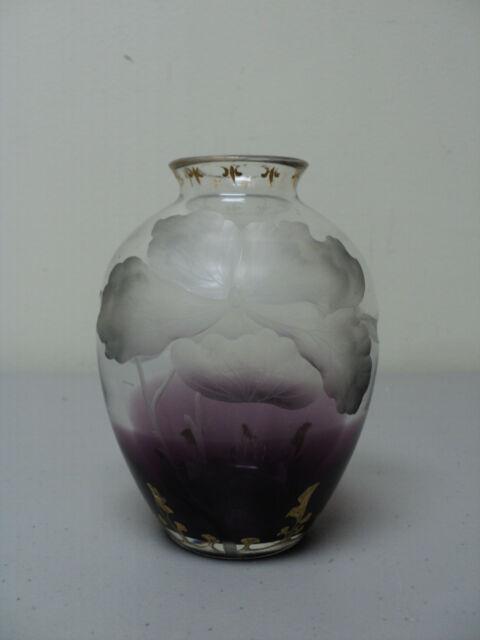 STUNNING ANTIQUE MOSER ART GLASS INTAGLIO CUT FLORAL DRESSER TRAY / DISH
