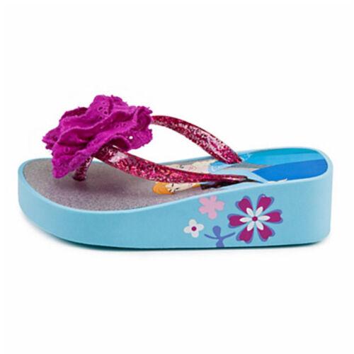 Disney Store Frozen Anna and Elsa Platform Flip Flop With Flower Size 9//10