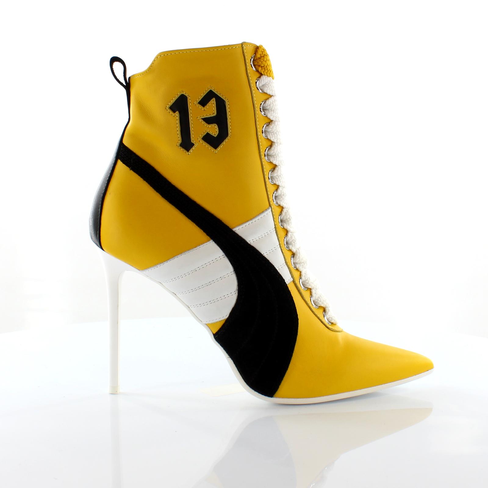 Puma Fenty by Rihanna 13 Yellow Black Leather Womens High Heel Shoes 363038 01