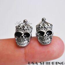 1 Pair Skull With Hat 316L Stainless Steel Men Earrings Ear Screw Stud Jewelry