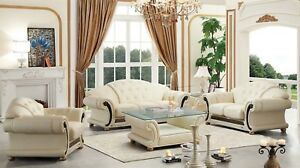 Details about Living Room Sofa Set Ivory Cream 100% Genuine Italian Top  Grain Leather Beige