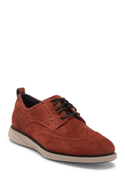 Scarpe casual da uomo  COLE HAAN Grand Evolution Brown Suede Wingtip Oxford Shoes, Size 9 US
