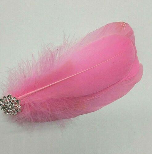 Asst Colour Silver Gem Feather Fascinator Diamante Hair Clip Vintage Style