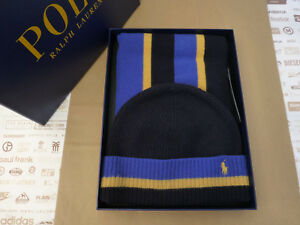 POLO RALPH LAUREN Cuffed Beanie   Scarf Gift Set Multi Wool 2in1 Box ... 2bc12efd9e3