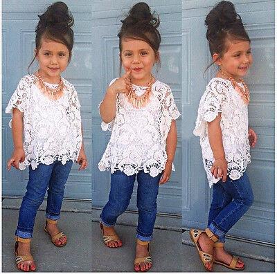 3Pcs New Baby Girls Clothing Set Lace Top T-Shirt + vest + Denim Jeans Suit 2-7T