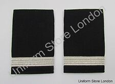 Epaulette, Rank Bar,Slip-on Silver on Black 1 x 1/2'' Bar R1546
