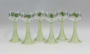 99835406-Satz-6-Wein-Glaeser-Jugendstil-um-1900-bemalt-wohl-Boehmen