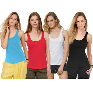WOMENS PLAIN RIBBED STRETCHY LADIES RIB VEST TOP T-SHIRT 8 COLOURS *CHOOSE*