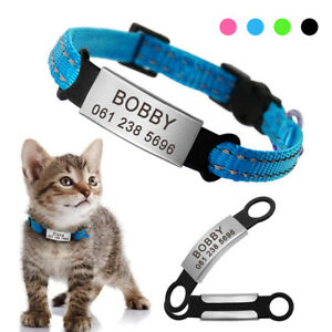 Personalised-Pet-Puppy-Cat-Breakaway-Collars-Reflective-amp-No-Noise-Slide-On-Tags