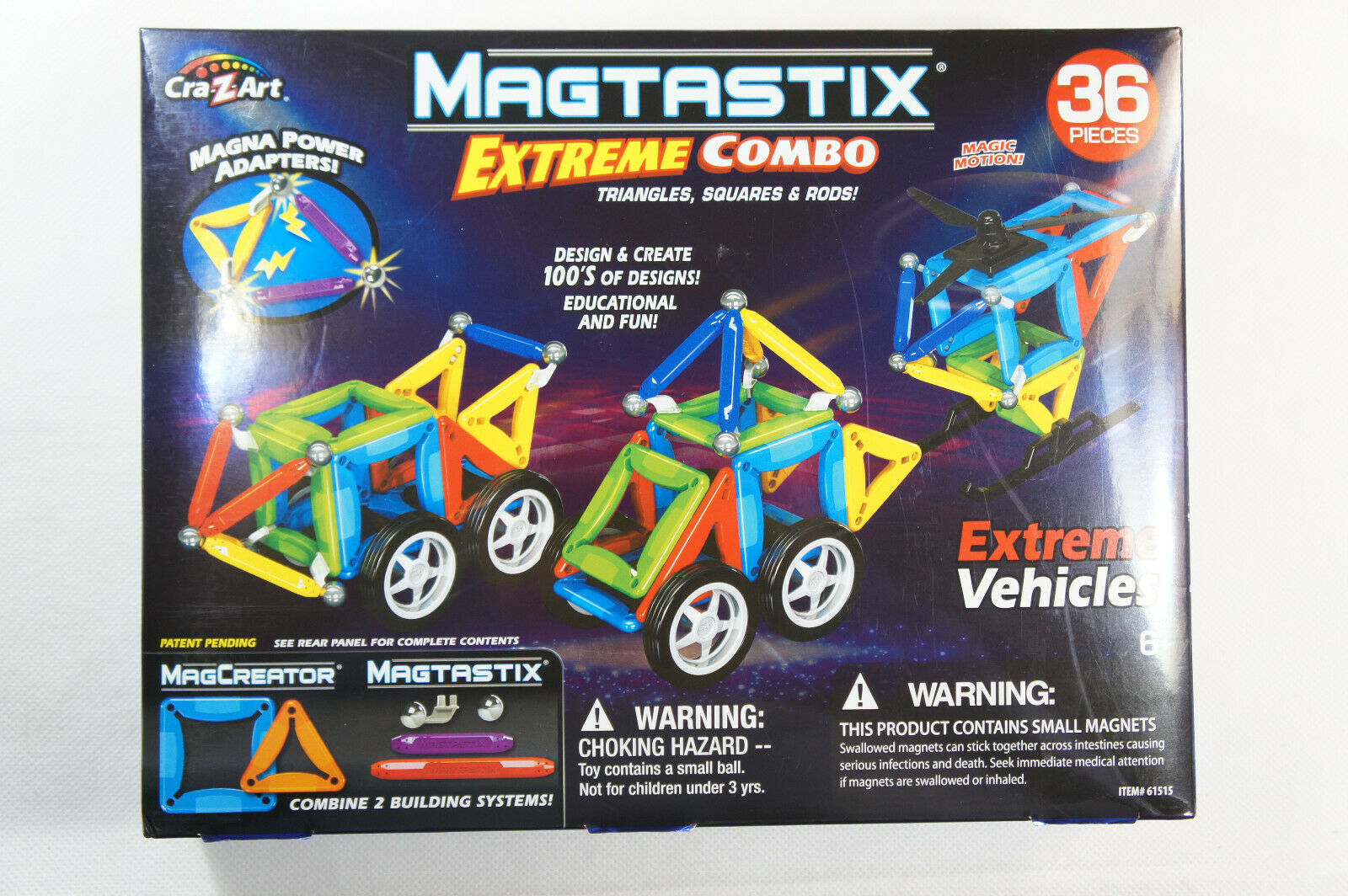 45 Piece Cra-Z-Art Magtastix Balls /& Rods Building Kit Package may vary