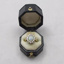 SUPERB VINTAGE 18CT GOLD OPAL AND DIAMOND CLUSTER RING SIZE G 1/2