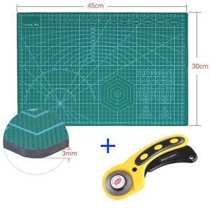 Neu-Schneidematte-A3-PVC-Schneideunterlage-Rollschneider-Set-Cutter-Unterlage