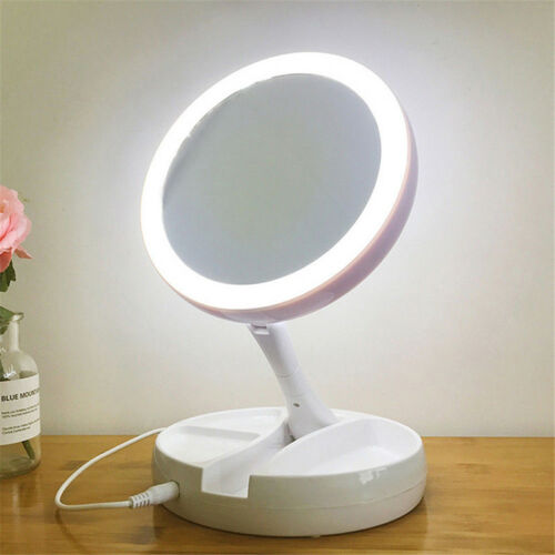 Magnifying Makeup Mirror Beauty Stand Double Side With LED Light Cosmetic LJ