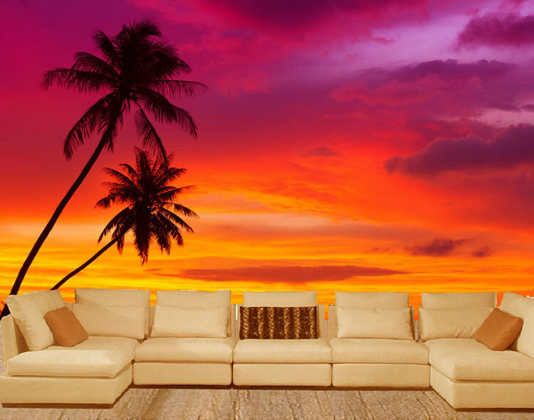 Silhouette Palm Trees 3D Sunset Full Wall Mural Photo Wallpaper Print Paper Deco