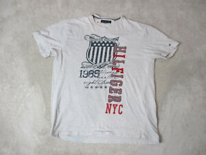 VINTAGE-Tommy-Hilfiger-Shirt-Adult-Extra-Large-Gray-Red-Spell-Out-Mens-90s-A1