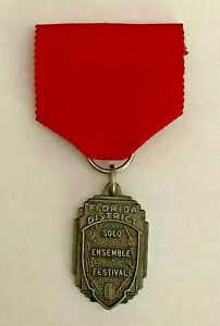 Florida District Solo Ensemble Festival Medal Award Pin Red Bronze vintage