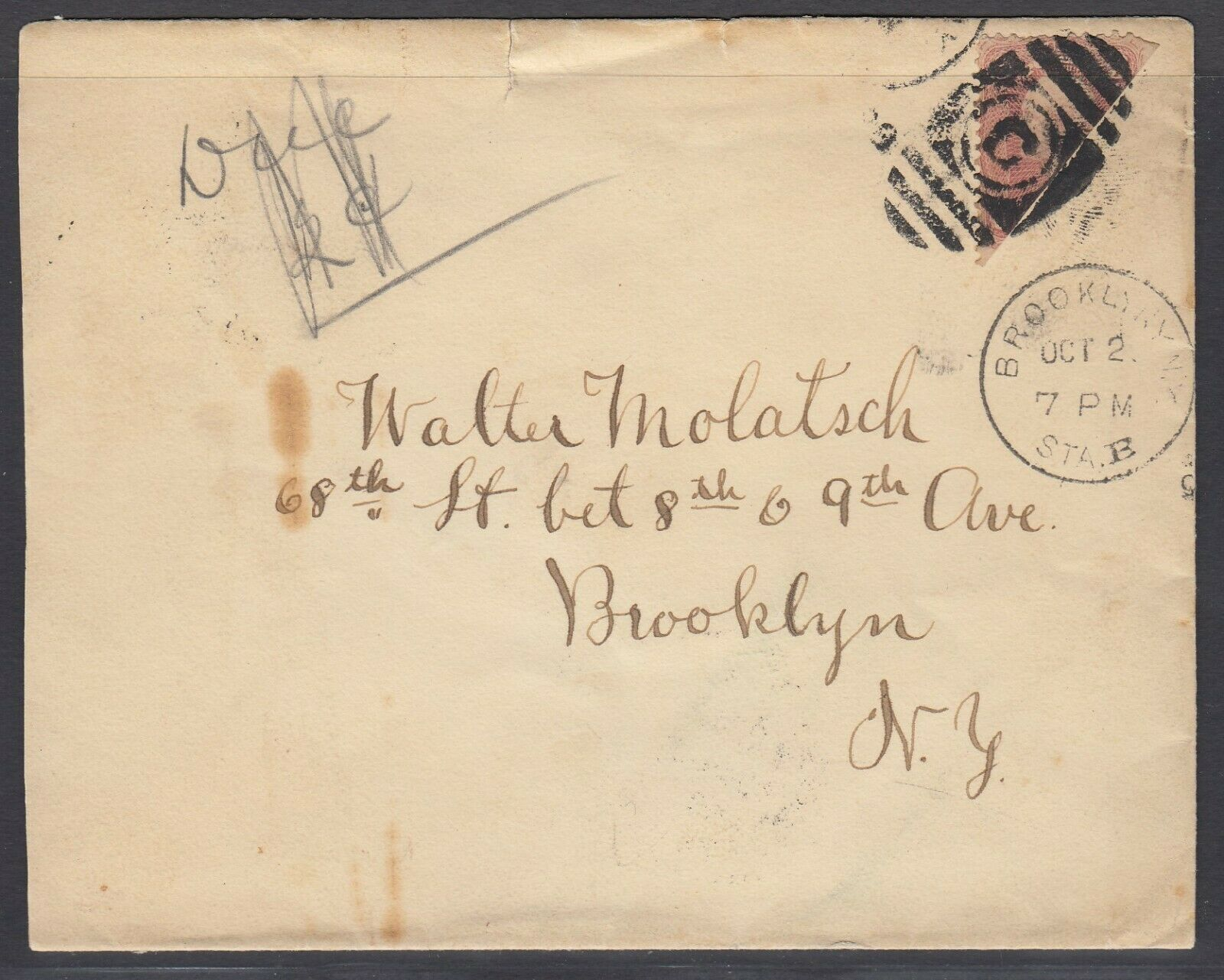US Sc 65 - 1898 Diagonal BISECT on cover to Brooklyn NY, w/ APS cert