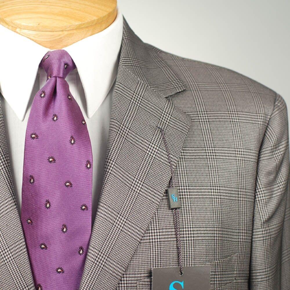 40R STEVE HARVEY Grey Plaid Suit - 40 Regular Mens Suits - SH05