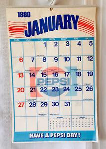 "Rare Vintage 1980 Pepsi Cola Paper Calendar Unused Metal Top NOS 20"" X 13"""