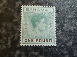 BAHAMAS POSTAGE STAMP SG157A ONE POUND BLUE GREEN LIGHTLY-MOUNTED MINT