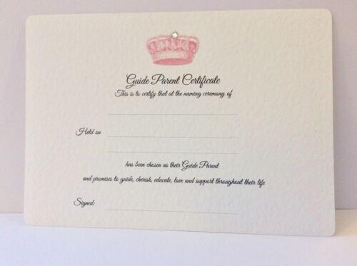 Personalised Naming Day Guide Parent// Sponsor CERTIFICATE Crown design
