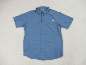 Columbia Button Up Shirt Adult Large Blue Gray Outdoors Sun Protection Mens *