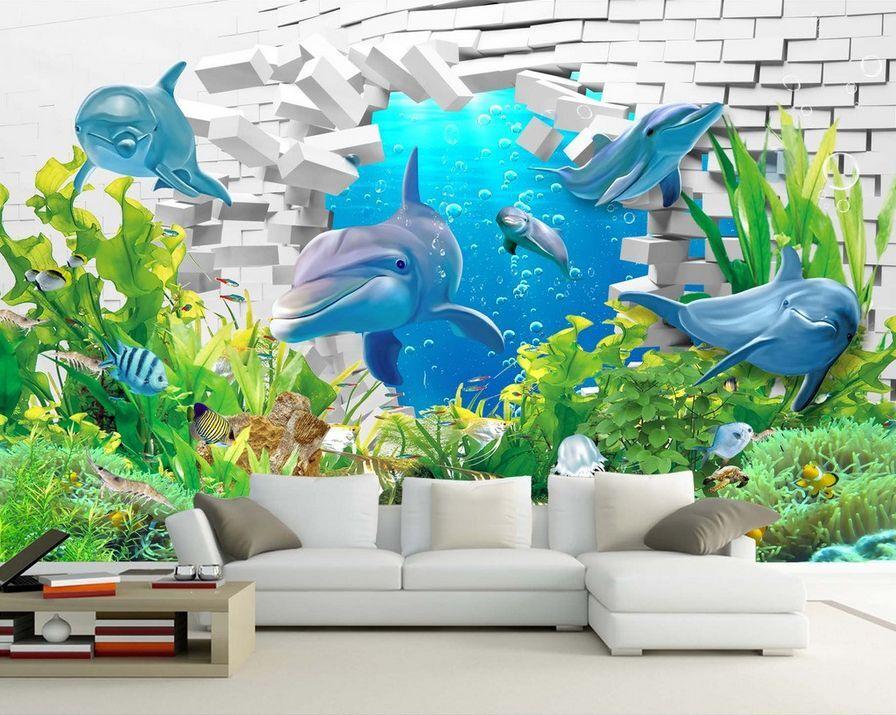 3D delfino pietra Parete Murale Foto Carta da parati immagine sfondo muro stampa