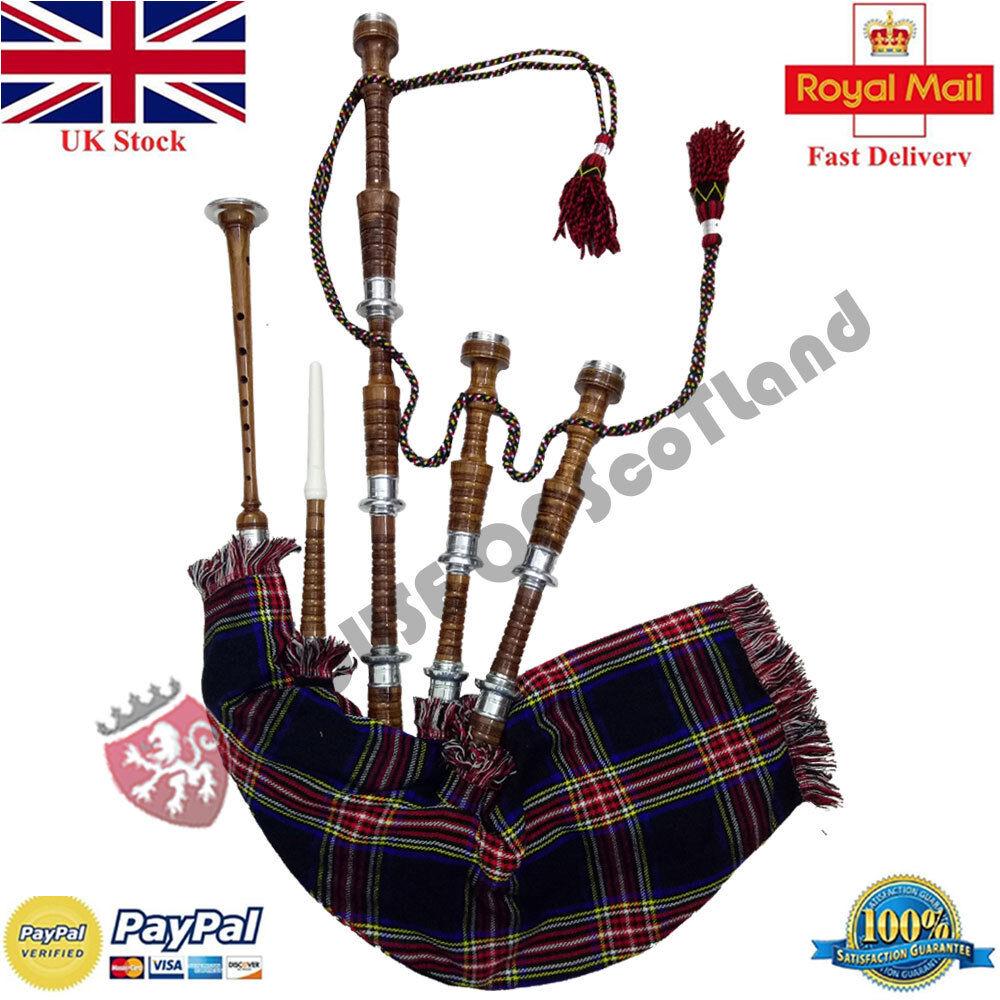 Great Scottish Highland Dudelsack Komplettset Braun Silber Gaita Lehrmeister