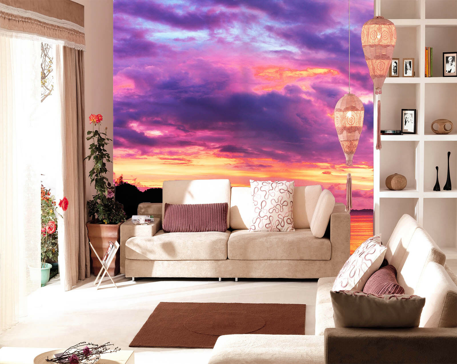 3D Purple Sky Dusk 423 Wall Paper Wall Print Decal Wall Deco Indoor Mural Carly