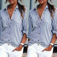 Fashion Women's Loose Tee Shirt Long Sleeve Casual Vertical Striped Tops Blouse