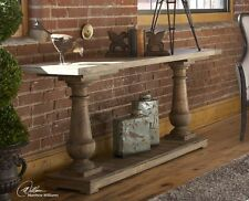Farmhouse French Country Style Distress Rustic Console Sofa Table Reclaimed  Wood