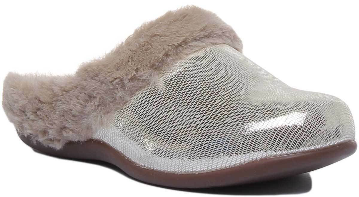 Strive Oslo Womens Suede Footbed Winter Slippers In Silver UK Sizes 3-7