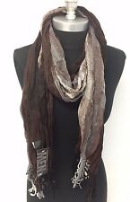 NEW Men Scarf Long Crinkle Wrap Shawl Stole Style Fashion Cozy Brown USA Seller!