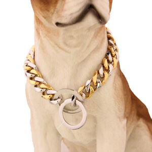 19mm-Stainless-Steel-Big-Dog-Collars-Silver-Gold-Flat-Link-Curb-Bulldog-Chain