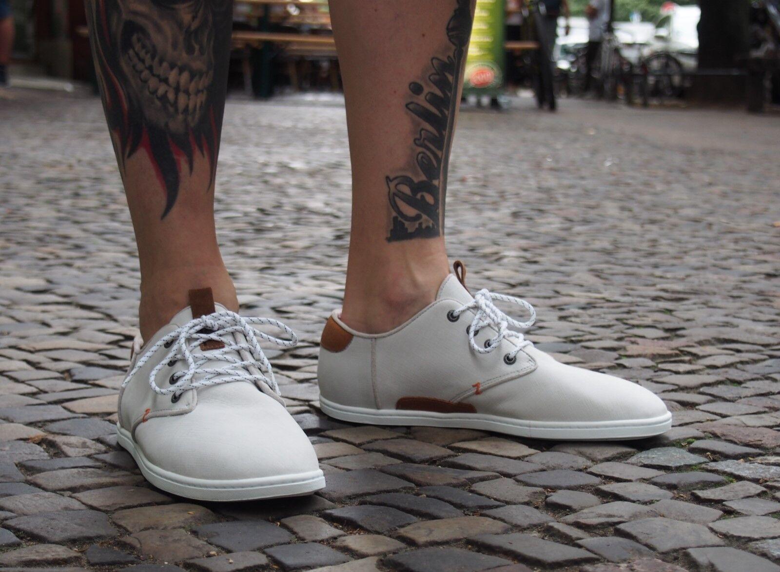 HUB Footwear Schuhe CHUCKONIAN white scratched leather Herrenschuhe Halbschuhe
