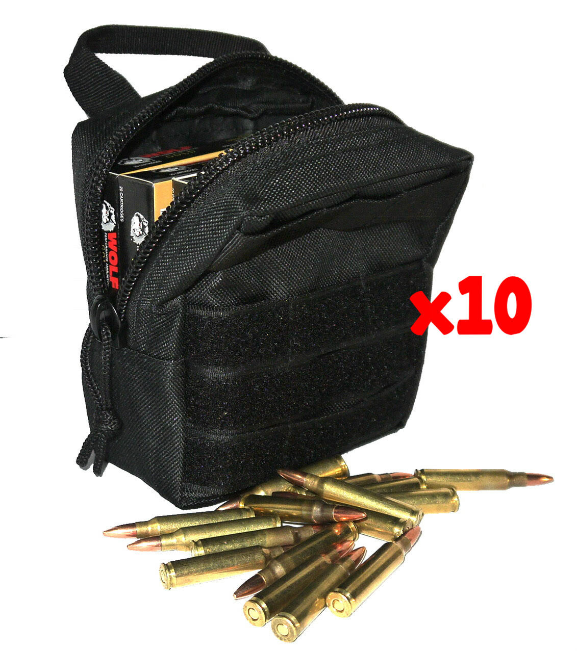 (10) .223 REMINGTON AMMO MODULAR MOLLE UTILITY POUCHES FRONT HOOK LOOP STRAP