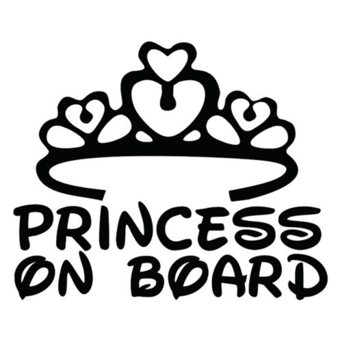 Window Girl Graphics 3D Vinyl Stickers PRINCESS ON BOARD Car Sign Decal Baby