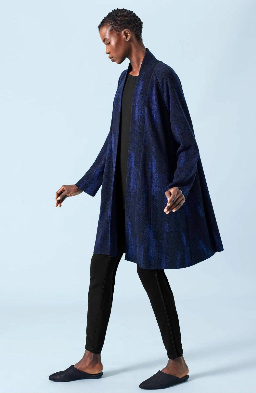 Nuevo Eileen Fisher Jacquard atrapante mezcla de lana  Frente Abierto Chaqueta Azul Y Negro  hasta un 70% de descuento