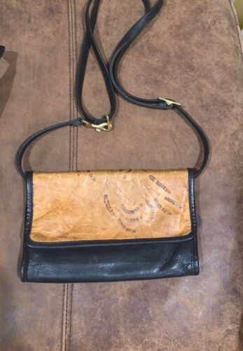 C L Whiting Leaf Leather Two Way Bag Purse with ad