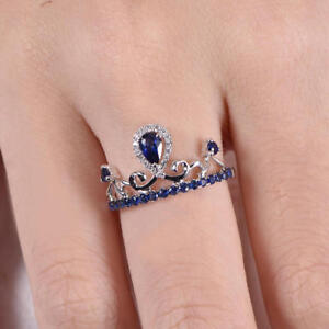 1-6ct-Pear-Cut-Blue-Sapphire-Crown-Design-Engagement-Ring-14k-White-Gold-Finish