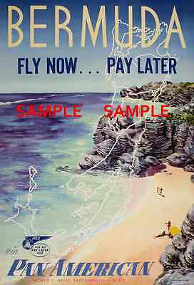 "BERMUDA 8.5/"" X 11/""  Travel Poster Pan American Air Lines"