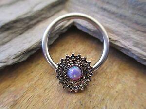 Purple Tribal Shield Mandala Lab Opal Captive Ring Hoop Septum