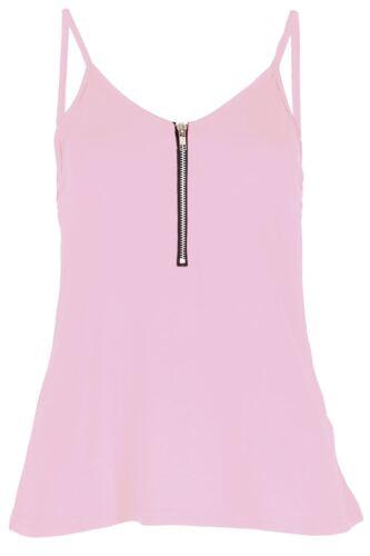 Damen Reißverschluss vorne geschnürt Cami Riemchen Tank Weste Kleid