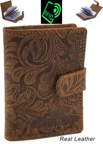 RFID Protected Genuine Leather Card Holder Notes Oyster Wallet Purse RRP £15
