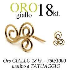 Piercing da naso nose ORO GIALLO 18kt. effetto TATTOO TATUAGGIO yellow gold 18kt