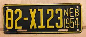 1954-NEBRASKA-TRAILER-LICENSE-PLATE-MOTORCYCLE-CYCLE-SIZE-PLATE-034-82-X-123-034-NE