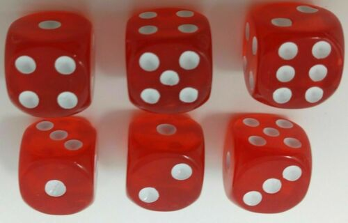 Pack of 100 Dice Standard 16mm size  Translucent Red