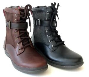 e66924fb905 Details about Ugg Kesey Womens Boot Waterproof Full-Grain Leather  Wool-Blend Black or Chestnut